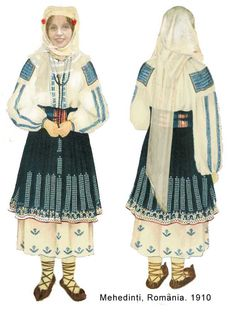 """""""Fashion"""" in Oltenia region before the year 1900 Folk Embroidery, Embroidery Patterns, Folk Costume, Costumes, My Fantasy World, Embroidery For Beginners, Dark Ages, Traditional Outfits, Textiles"""