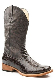 Roper Womens Square Toe Brown Faux Crocodile Leather Western Cowboy Boots