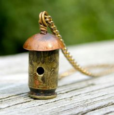 Bullet Shell Birdhouse Pendant Necklace by jillddesigns on Etsy Bullet Shell Jewelry, Shotgun Shell Jewelry, Bullet Casing Jewelry, Ammo Jewelry, Brass Jewelry, Charm Jewelry, Jewelry Crafts, Handmade Jewelry, Bullet Necklace