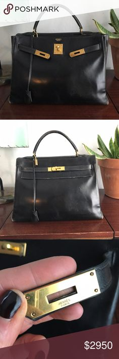 ✨AUTHENTIC✨ Vintage Hermès Kelly 32 black box calf with gold hardware. all HW is original. circle B stamp (1972) this belonged to my grandma who left it to me - but sadly - i never wear it and it deserves love! obvious wear to corners and handle. some cracking of the leather. but in over all great shape for the age. come with working lock, keys, and clochette (which is hard to find with these older pieces) much better price on ️️ - feel free to ask question:! happy to provide more pics…