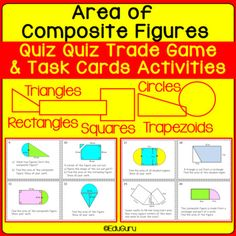 Composite Figures Area Quiz Quiz Trade and Task Card Activities Math Activities, Teacher Resources, Triangles, Composite Shapes, Math Courses, Secondary Math, Task Cards, Mathematics, Circles