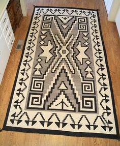 Historic Two Grey Hills Storm Pattern Variant Navajo Rug Weaving For Sale Photo 1, Click Photo for a Large View, Click Your Back Button to Return