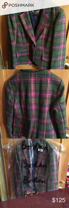Boden tweed jacket size 10 fantastic color This is a sharp jacket. Beautifully made and fully lined. Green and pink tweed. NWOT Boden Jackets & Coats Blazers