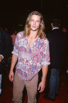 Holy shirt!  Brad Pitt  wore a psychedelic button down for the LA premiere of  True Romance  in September 1993.