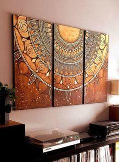 Dishfunctional Designs: Mandala Magic: Mandalas In DIY, Art, Home Decor, And Mandala Drawing, Mandala Painting, Image Pinterest, Cool Rooms, Decoration, Diy Art, Living Room Designs, Design Art, Canvas Art