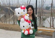 35cm Hello Kitty Doll Hello Kitty Doll Plush Toy Birthday Gift Christmas Gift (Red)
