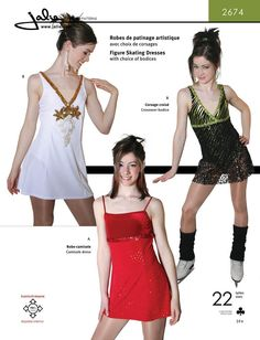 Empire waist princess line dresses with attached leotard. The skirt is slightly longer in the back. View A has a fully lined bodice with spaghetti straps. View B has a cross-over V neckline bodice and wide shoulder straps.