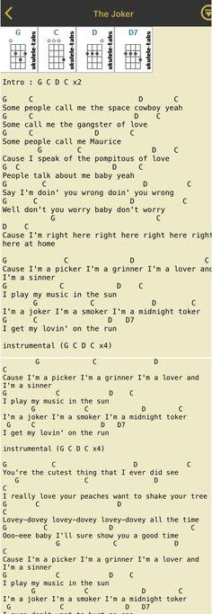 The Joker // Steve Miller band // ukulele chords // joker smoker midnight play my music in the sun Ukulele Chords Songs, Lyrics And Chords, Guitar Songs, Ukulele Tuning, Uke Tabs, Steve Miller Band, All About That Bass, Good Vibe Songs, Cigar Box Guitar