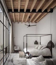 38 ideas bedroom loft style wood ceilings for 2019 Minimalist Home Interior, Home Interior Design, Interior Architecture, Minimalist Bedroom, Minimalist Home Design, Interior Shop, Interior Sketch, Studio Interior, Interior Livingroom