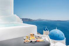 Breakfast time! Explore Sophia Oia Villa! #Santorini #Greece #Summer #LuxuryHotel Santorini Greece, Breakfast Time, Burj Khalifa, Villa, Explore, Luxury, Building, Summer, Travel