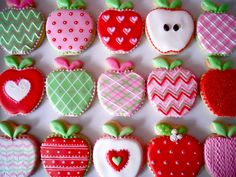 Apple cookies~                            By Oh Sugar Events: Apples For The Teacher, red, pink, green, white, chevron, plaid, polka dot, decorative