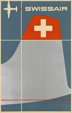 """SwissAir"", (c. Airlines Poster - Graphic Design by Henri Ott (b. 1919 - d."