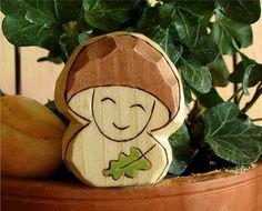 Natural toy  waldorf toy  wooden  carved  Mushroom by Rjabinnik, $7.90
