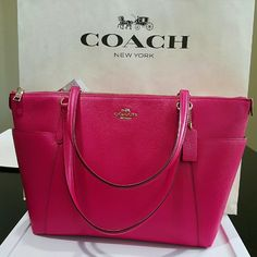 Coach fuchsia leather tote Beautiful leather Coach tote in fuchsia. New with tags attached. Comes with care card and Coach box. Coach Bags Totes