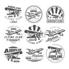 propeller flugzeug: Flugzeug-Club Vector Illustration Emblem, Abzeichen Set…