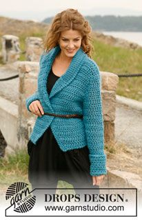 "Crochet DROPS jacket with shawl collar in ""Eskimo"". Sizes S-XXL ~ DROPS Design"