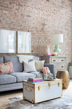 *** LOVE the idea of an old steamer trunk as a coffee table. Could paint it to match decor. >>> Giveaway: Win an Interior Define x The Everygirl Sofa Home Living Room, Apartment Living, Living Room Decor, Apartment Furniture, Apartment Design, Living Area, Sweet Home, Living Room Inspiration, Home Decor Inspiration