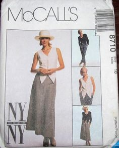 Vintage Sewing Pattern McCall's NY Collection 8710 Tuxedo Vest Crop Jacket Flare Skirt Pants Womens Miss Size 18 Bust 40 Uncut Factory Folds by RosesPatternsEtc on Etsy