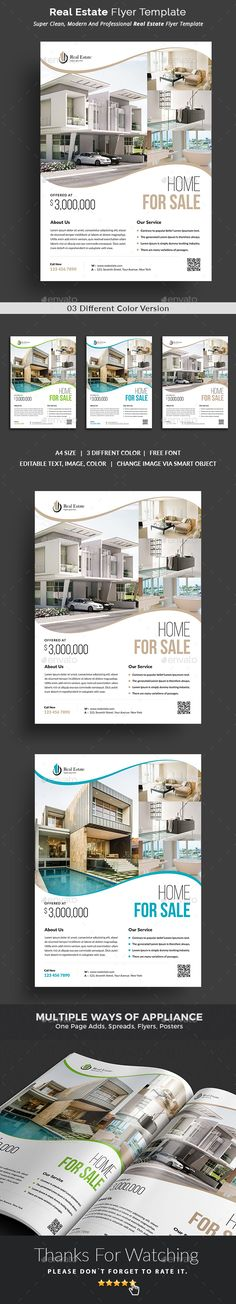 #Real Estate Flyer - #Commerce #Flyers, This Real Estate Flyer Template is a great tool for promoting your real estate business also useful for a realtor or a real estate agent. You can use it for real estate listings, advertising homes or property for sale,or houses for rent. Fully editable template, you can add images of your choice and change the texts.