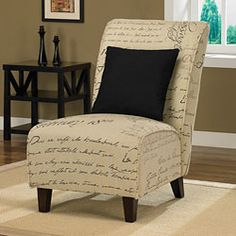 @Overstock - Unique living room chairs add extra seating and an intriguing focal point to the room. This chair, upholstered in script fabric, features a strong hardwood frame, a matching accent pillow and non-mar glides that help to prevent floor damage.http://www.overstock.com/Home-Garden/Tapered-Signature-Chair-with-Pillow/5323855/product.html?CID=214117 $164.69