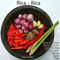 Indonesian Rica Rica spices Manado cuisine, used for all kinds of meats, poultries, freshwater fishes and seafoods can be made into rica rica dish Cooking Ingredients, Cooking Recipes, Sambal Recipe, Malay Food, Spicy Dishes, Indonesian Cuisine, International Recipes, Creative Food, Asian Recipes