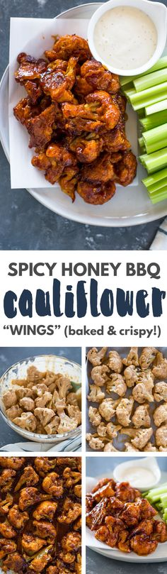Baked Spicy Honey BBQ Cauliflower Wings. Swap honey for bee free Apple honey or maple syrup for vegan.