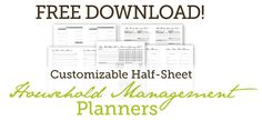 Customizable half-size planners (including daily docket)