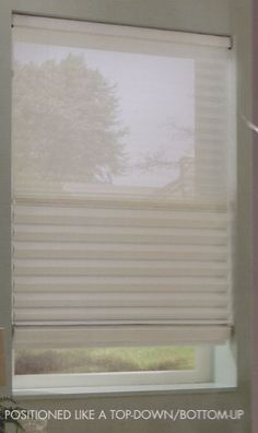 TriLight Window Shade positioned as a Top-Down/Bottom-Up. This shade features sheers on the top with a Roman Shade on the bottom.