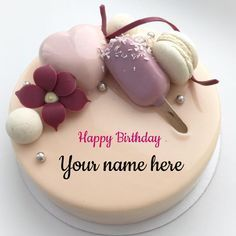 Art Birthday Cake, Birthday Cake Write Name, Birthday Msgs, Online Birthday Cake, Birthday Cake Writing, Elegant Birthday Cakes, Funny Birthday Cakes, Cake Name, Beautiful Birthday Cakes