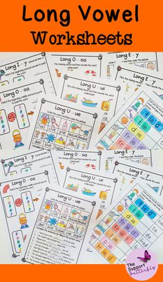 These long vowel phonic worksheets are just what you need for your Kindergarten or First Grade students! These no prep worksheets are perfect for Literacy lessons, Literacy centers or word work. Each phonic activity is easy to implement and students will learn long a, long i, long u, and long o sounds. These printables will be easy and engaging during your spelling or reading lessons. Long Vowel Worksheets, Phonics Worksheets, Phonics Activities, Phonics Sounds, Vowel Sounds, Long Vowels, Long I, Reading Lessons, Word Work