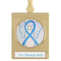 Prostate Cancer uses a light blue awareness ribbon. Light Blue Awareness Ribbon Angel Art Ornament