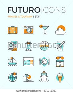 Line icons with flat design elements of air travel to resort vacation, tour planning, recreational rest, holiday trip for leisure activity. Modern infographic vector logo pictogram collection concept. - stock vector