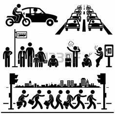 Illustration of Urban City Life Metropolitan Hectic Street Traffic Busy Rush Hour People Man Stick Figure Pictogram Icon vector art, clipart and stock vectors. Sharpie Drawings, Urban People, City Vector, Vector Art, Street Stock, Urban City, Stick Figures, Future City, Street Signs