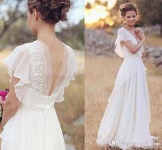 2016 Country Bohemia A Line Wedding Dresses V Neck Short Sleeves Chiffon Summer Beach Wedding Gowns Floor Length Boho Custom Bridal Dress Backless Wedding Dress Beach Wedding Dress 2017 Wedding Dress Online with 145.15/Piece on Yes_mrs's Store | DHgate.com