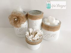 Mason Jars Bathroom Set. Including 4 jars, soap pump and toothbrush holder (for regular toothbrushes). Color: White with burlap trim Hand Painted and distressed to complete the look. Oven cured and a matter clear coat to complete the look. Contact me with any questions. Available in