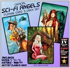 Sci-Fi Angels Playing Cards 3 Deck Set | Etsy Suit Card, Metal Magazine, Just A Game, Sci Fi, Angels, Playing Cards, Deck, Artist, Etsy