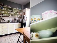 'Elina covered the cabinet doors in vintage wallpaper. And painted the inside green.'
