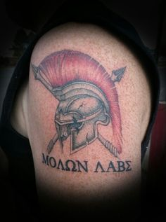 Spartans helmet! Come get them in Greek. Color tattoo done by Joy DeHerrera @ Theoretical Ink