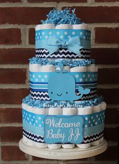 3 Tier Whale Diaper Cake Boy Baby Shower by BabeeCakesBoutique Baby Shower Cakes For Boys, Baby Boy Cakes, Baby Shower Desserts, Boy Baby Shower Themes, Baby Shower Diapers, Baby Boy Shower, Baby Shower Gifts, Whale Diaper Cake, Diaper Cakes