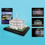 LED 3D LANDMARK PUZZLES - 56PC WHITE HOUSE