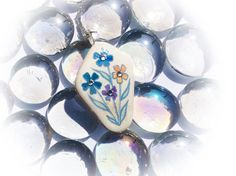 Summer Flowers Pendant Hand Painted Sea Pottery by turquoiseeye