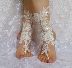 White black ivory Beach wedding barefoot sandals by SummerFeetS