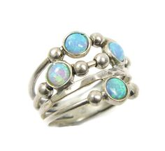 Silver opal ring. spheres sterling silver ring Sterling