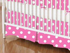 Crib Skirt - Primary Polka Dots Pink Woven - Crib Skirts Sheet