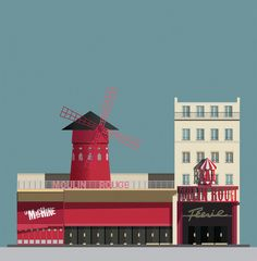 La Machine du Moulin Rouge, a nightclub next door to the Moulin Rouge in Paris, illustrated by Pablo Benito All Pop, Berghain, Environment Concept, Le Moulin, Book Photography, Vintage Posters, Vintage Graphic, Retro, Night Club
