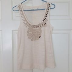 Madewell Beaded white PARTY tank Great for the holidays and going out! Lots of sparkle. Sheer in the front. Lightly worn. Like new. Great condition. FREE when purchased with a more expensive item! Madewell Tops Tank Tops
