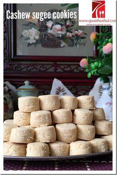 Chinese New Year Recipes: Cashew Sugee Cookies (腰豆苏吉饼) - Guai Shu Shu Biscuit Cookies, Biscuit Recipe, Yummy Cookies, Cake Cookies, Crispy Cookies, Sweet Cookies, Sweet Treats, Chinese New Year Cookies, New Years Cookies