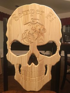 Excited to share this item from my shop: Custom Wood Semper Fi USMC Skull Sign Unfinished Woodworking Projects Diy, Custom Woodworking, Fine Woodworking, Wood Projects, Woodworking Furniture, Woodworking Basics, Skull Furniture, Halloween Wood Crafts, Pallet Barn