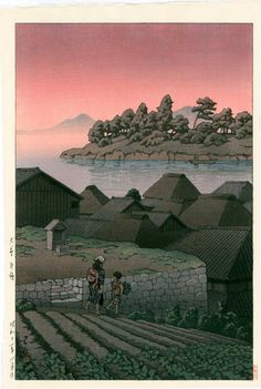 Artist: Hasui Kawase  Title: Amakusa  Size: 10.75 x 16 inches  1937, auto-zuri edition published by Watanabe from the first edition blocks  Medium: Japanese woodblock print