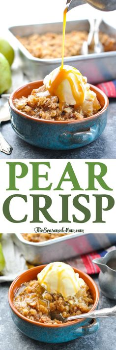 Whether you save this idea for Thanksgiving dinner or prepare it for your next weeknight meal, an Easy Pear Crisp is the perfect simple fall dessert recipe! Fall Dessert Recipes, Köstliche Desserts, Fall Recipes, Delicious Desserts, Kabob Recipes, Fondue Recipes, Canning Recipes, Kitchen Recipes, Plated Desserts